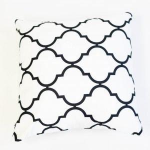 Vloerkussen zwart wit geometrisch patroon