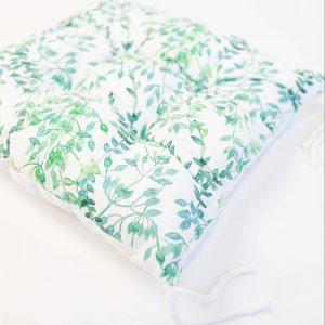 Gezwollen stoelkussen Nia - kleine groene bladeren