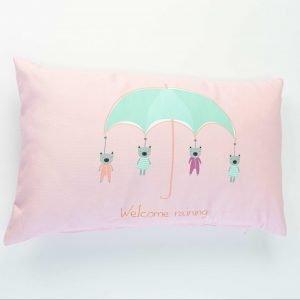 Rechthoekig sierkussen Joan (Incl. vulling) - Welcome raining roze