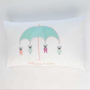 Rechthoekig sierkussen Joan (Incl. vulling) - Welcome raining wit