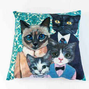 Chenille sierkussensloop Boncuk - Katten