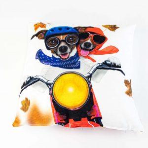 Chenille sierkussensloop Berty - Honden op scooter