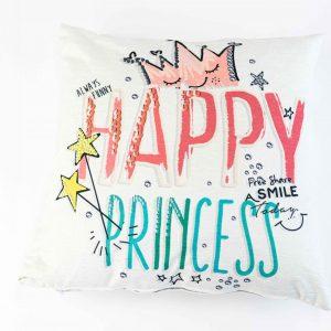 Chenille sierkussensloop Alia - Happy princess