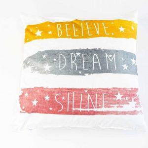 Chenille sierkussensloop Ella - Believe, dream, shine