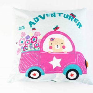 Chenille sierkussensloop Tanya - Roze auto
