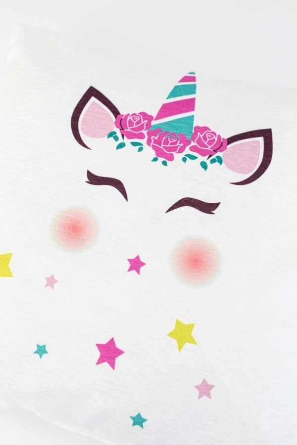Chenille sierkussensloop Alise - Unicorn met sterren