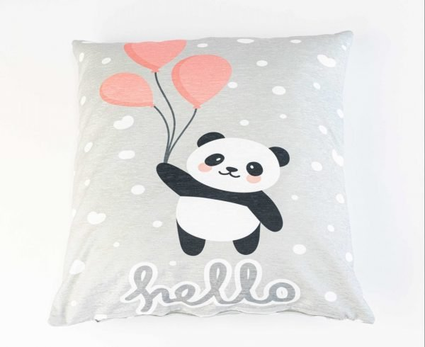 Chenille sierkussensloop Kiyara - Panda met ballon