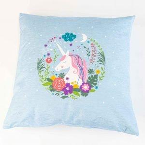 Chenille sierkussensloop vita - Unicorn in bloemen