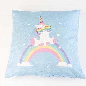 Chenille sierkussensloop Mimo - Unicorn op regenboog