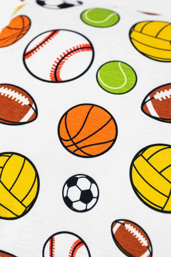 Chenille sierkussensloop Bryan - Sportballen wit