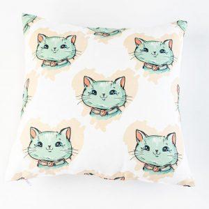 Suède sierkussensloop Milo - Katten op wit
