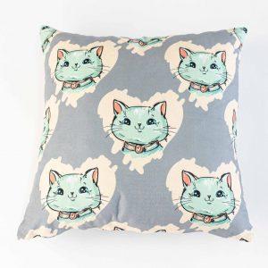 Suède sierkussensloop Milo - Katten op grijs