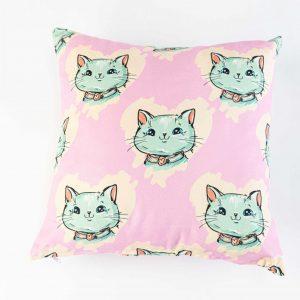 Suède sierkussensloop Milo - Katten op roze