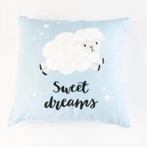 Suède sierkussensloop Lola - Sweet dreams blauw