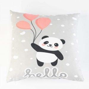 Suède sierkussensloop Kiyara - Panda met ballon