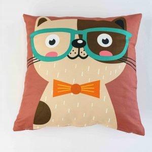 Sierkussensloop Tom - hond met groene bril