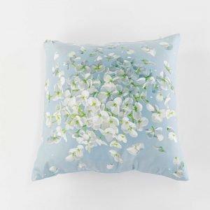 Suède sierkussensloop April - Hortensia bloem