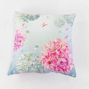 Suède sierkussensloop Calito - Hortensia bloem roze