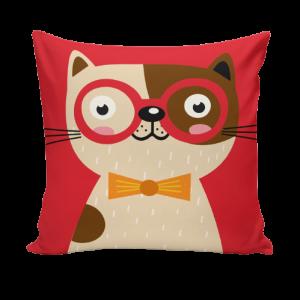 Sierkussensloop Tom - hond met rode bril